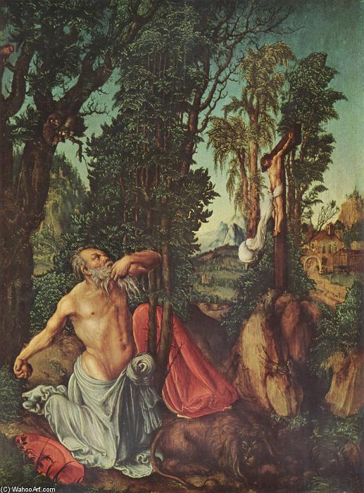 The Penitence of St. Jerome, Oil On Panel by Lucas Cranach The Elder (1472-1553, Germany)