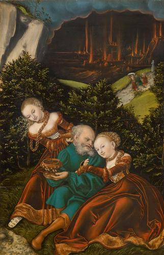 Lot and his daughters, Oil by Lucas Cranach The Elder (1472-1553, Germany)