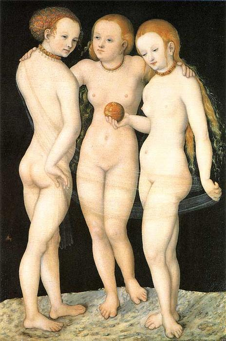 The Three Graces, Oil On Panel by Lucas Cranach The Elder (1472-1553, Germany)