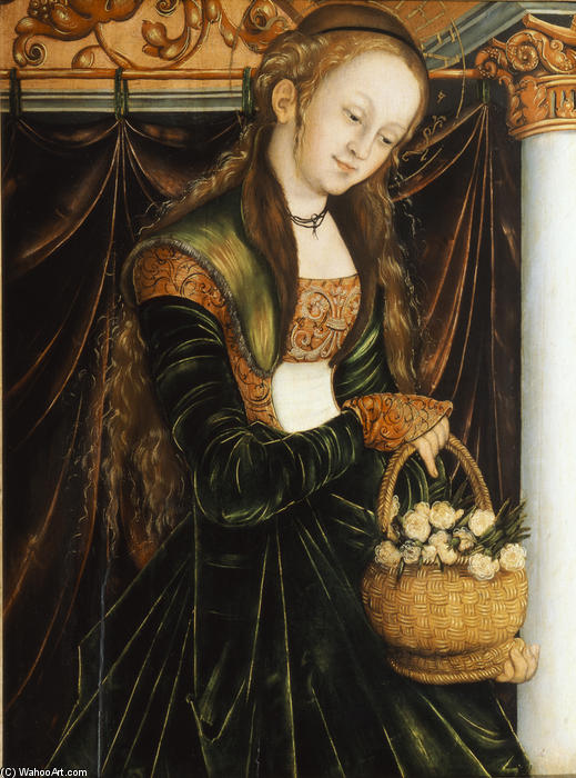 St. Dorothea, Tempera by Lucas Cranach The Elder (1472-1553, Germany)