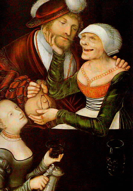 The Procuress, Oil On Panel by Lucas Cranach The Elder (1472-1553, Germany)