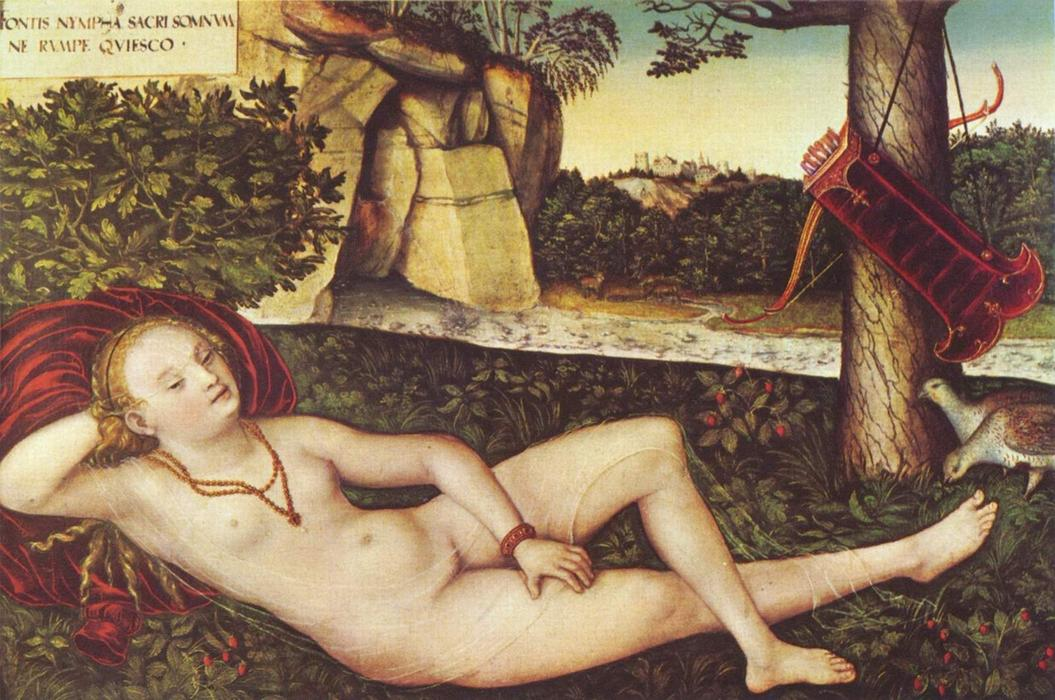 Reclining Diana, Oil On Panel by Lucas Cranach The Elder (1472-1553, Germany)