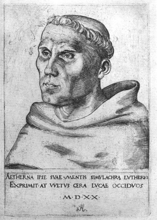 Martin Luther as a Monk, Engraving by Lucas Cranach The Elder (1472-1553, Germany)