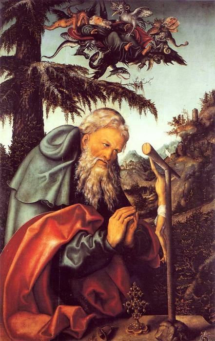 St. Anthony, 1520 by Lucas Cranach The Elder (1472-1553, Germany)
