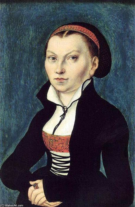 Portrait of Katharina von Bora, Oil by Lucas Cranach The Elder (1472-1553, Germany)