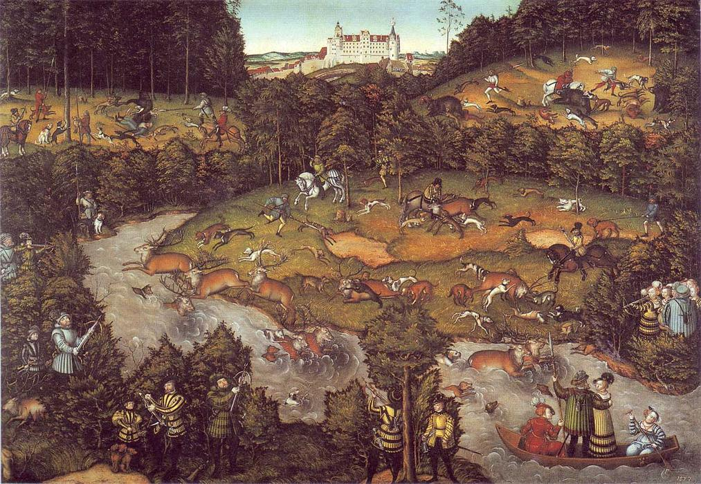 The deer hunting, 1540 by Lucas Cranach The Elder (1472-1553, Germany)