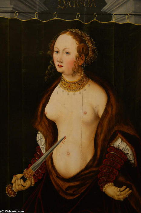 Lucretia committing suicide., Oil On Panel by Lucas Cranach The Elder (1472-1553, Germany)