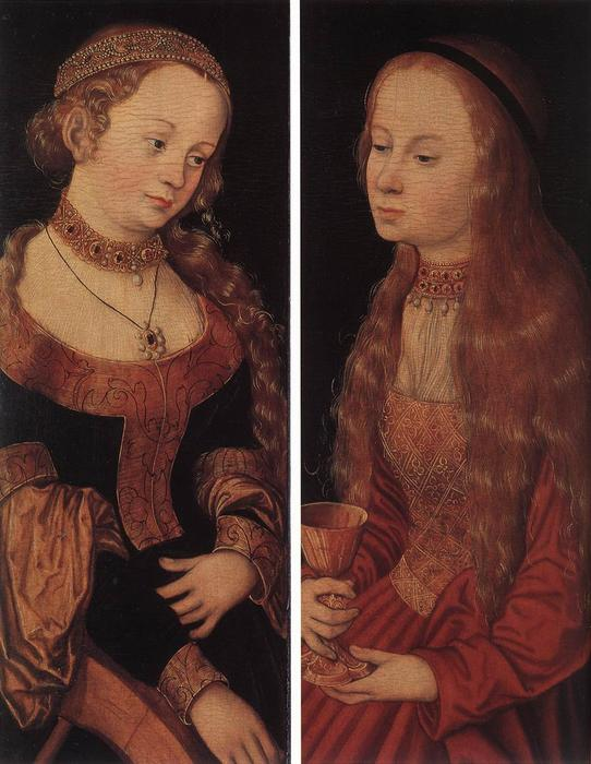 St. Catherine and St. Barbara, Oil by Lucas Cranach The Elder (1472-1553, Germany)