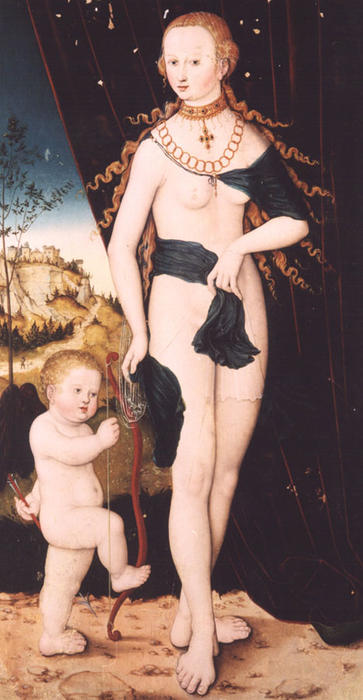 Venus and Cupid by Lucas Cranach The Elder (1472-1553, Germany)