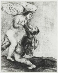 Marc Chagall - Jacob wrestling with the angel (Genesis, XXXII, 24 30)