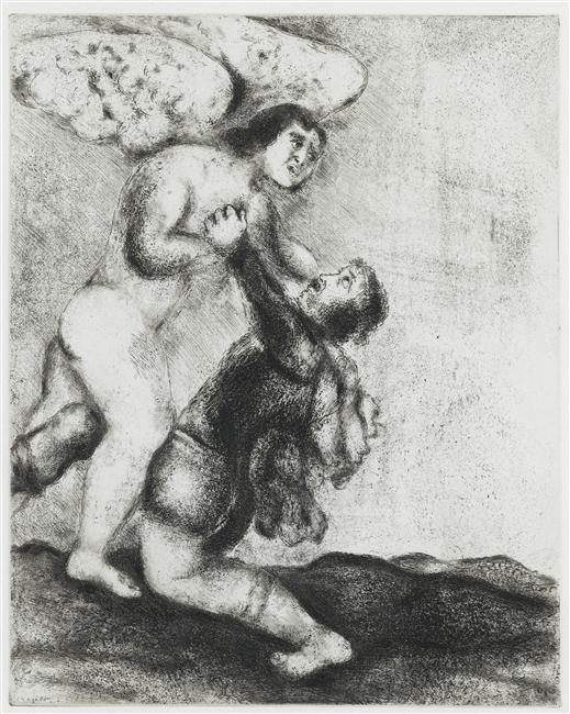 Jacob wrestling with the angel (Genesis, XXXII, 24 30), 1931 by Marc Chagall (1887-1985, Belarus) | Museum Art Reproductions | ArtsDot.com