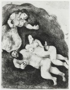 Marc Chagall - Lot and His Daughters (Genesis, XIX, 31 35)