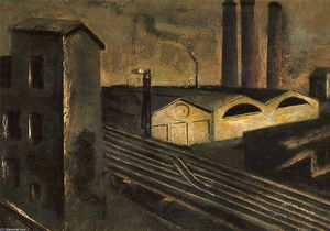 Mario Sironi - Urban Landscape with Chimneys