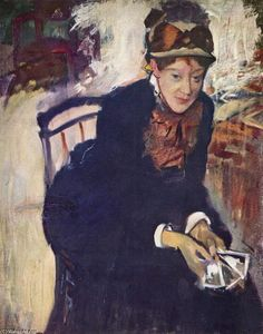 Mary Stevenson Cassatt - Portrait of Miss Cassatt, holding the cards