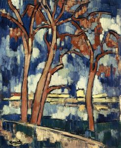 Maurice De Vlaminck - Landscape with Red Trees Chatou