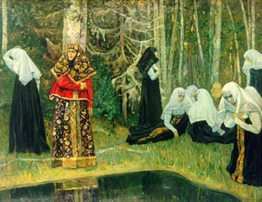 The Legend of the Invisible City of Kitezh, Oil On Canvas by Mikhail Nesterov (1862-1942, Russia)