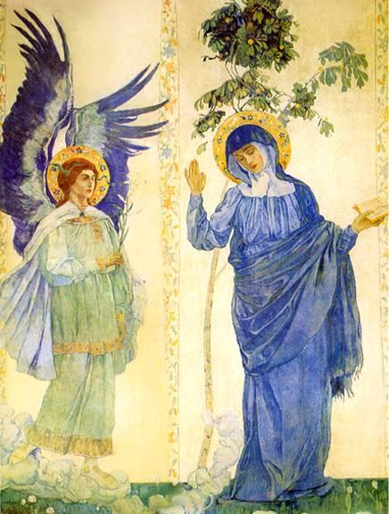 Annunciation by Mikhail Nesterov (1862-1942, Russia)