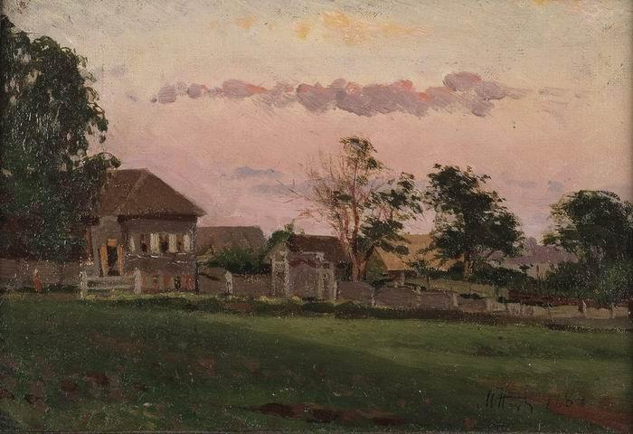 Small house in Ufa, 1884 by Mikhail Nesterov (1862-1942, Russia)