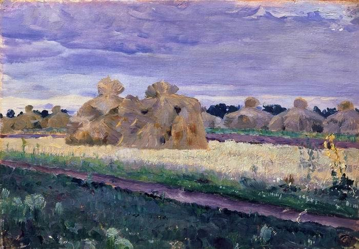 Haystacks by Mikhail Nesterov (1862-1942, Russia)
