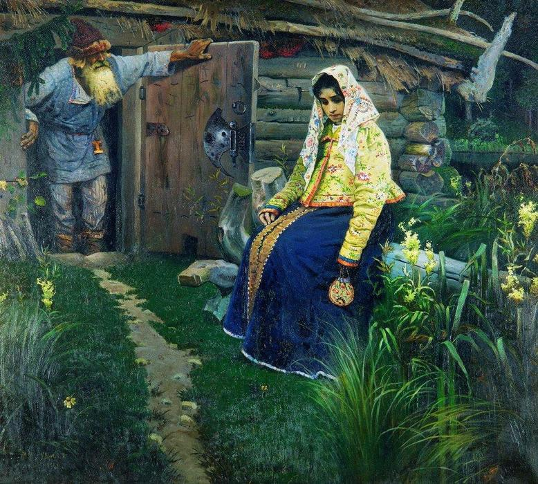 For the love potion, Oil On Canvas by Mikhail Nesterov (1862-1942, Russia)