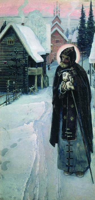 Saint Sergius' labours (right part of the triptych), 1896 by Mikhail Nesterov (1862-1942, Russia)
