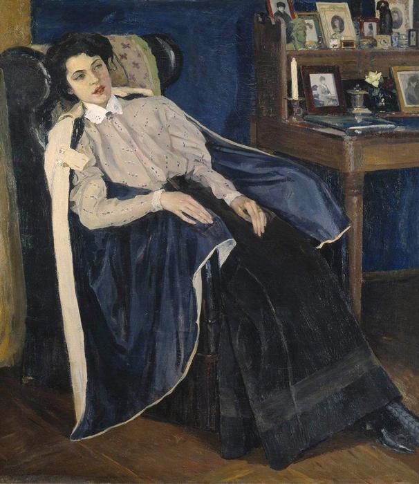 Portrait of O. M. Nesterova, the artist's daughter, 1905 by Mikhail Nesterov (1862-1942, Russia)