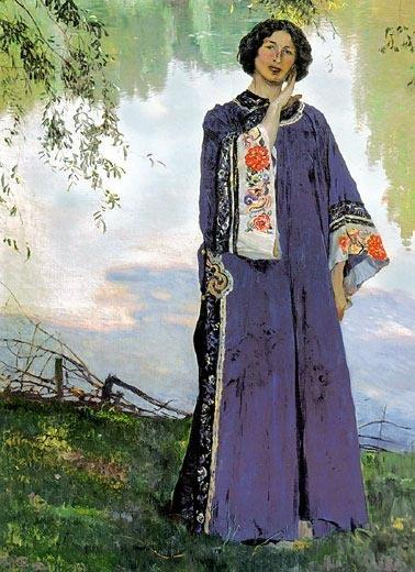 Portrait of E. P. Nesterova, Oil On Canvas by Mikhail Nesterov (1862-1942, Russia)