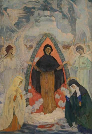 Intercession of Our Lady, 1914 by Mikhail Nesterov (1862-1942, Russia)