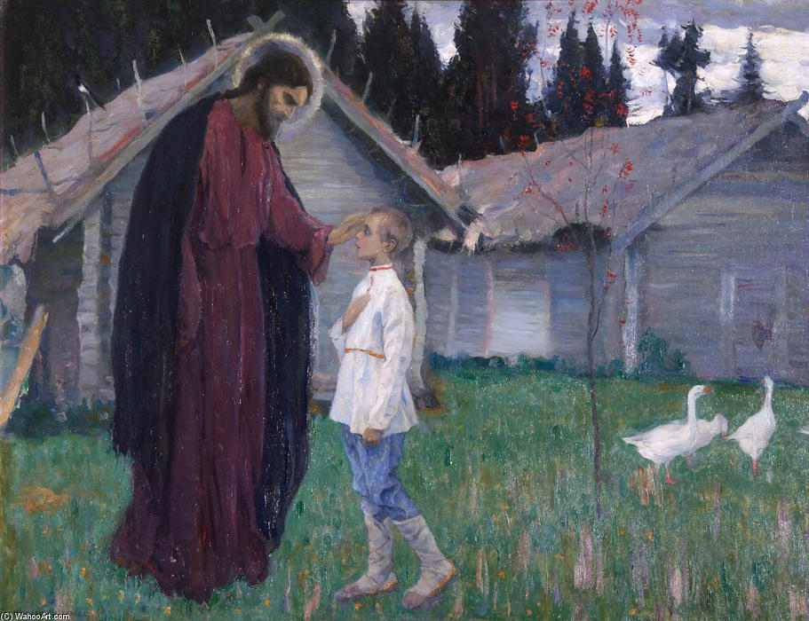 Christ blesses Bartholomew by Mikhail Nesterov (1862-1942, Russia)