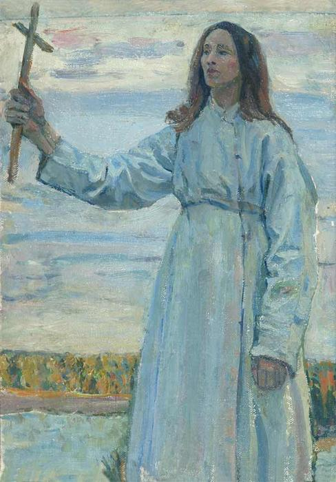Novice with a cross by Mikhail Nesterov (1862-1942, Russia)