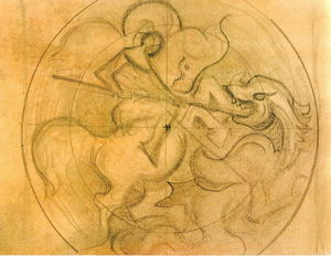 Nicholas Roerich - Sketch for --Light Conquers Darkness--