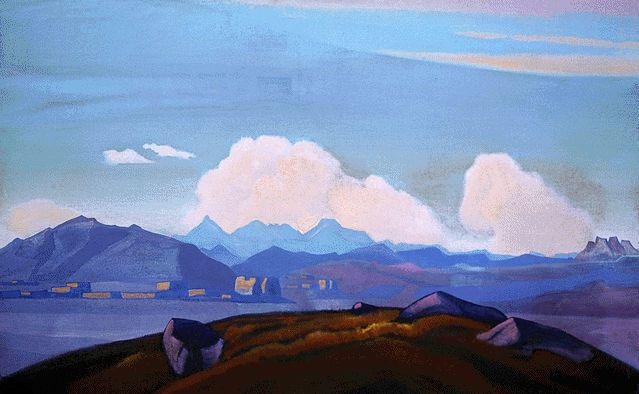 Order Museum Quality Reproductions : View of Everest from Tibet, 1937 by Nicholas Roerich (1874-1947, Russia) | ArtsDot.com