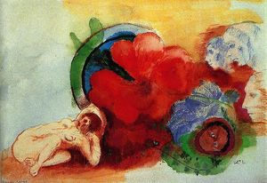 Odilon Redon - Nude, Begonia and Heads