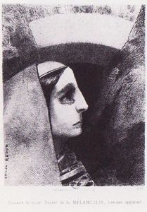 Odilon Redon - Lenor appears in front of the black sun of melancholy