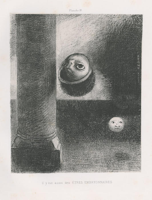 There were also embryonic beings, 1885 by Odilon Redon (1840-1916, France) | Museum Art Reproductions | ArtsDot.com