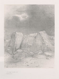 Odilon Redon - And he discerns an arid, knoll-covered plain (plate 7)