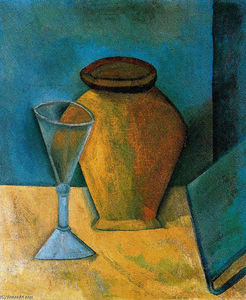 Pablo Picasso - Pot, Glass and Book