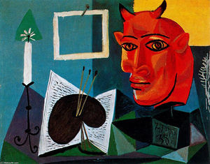 Pablo Picasso - Candle, palette, head of red bull