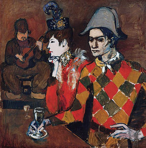 Pablo Picasso - At --Lapin Agile-- (Harlequin with Glass)