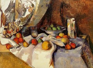 Paul Cezanne - Still Life Post, Bottle, Cup and Fruit