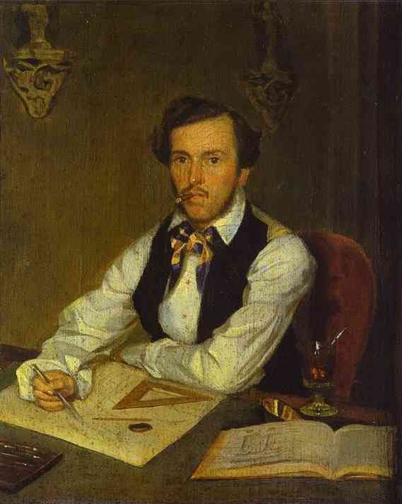 Portrait of an Architect, Oil On Canvas by Pavel Fedotov (1815-1852)