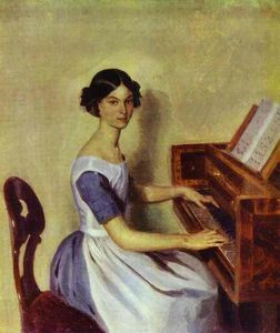 Pavel Fedotov - Portrait of Nadezhda P. Zhdanovich at the Piano