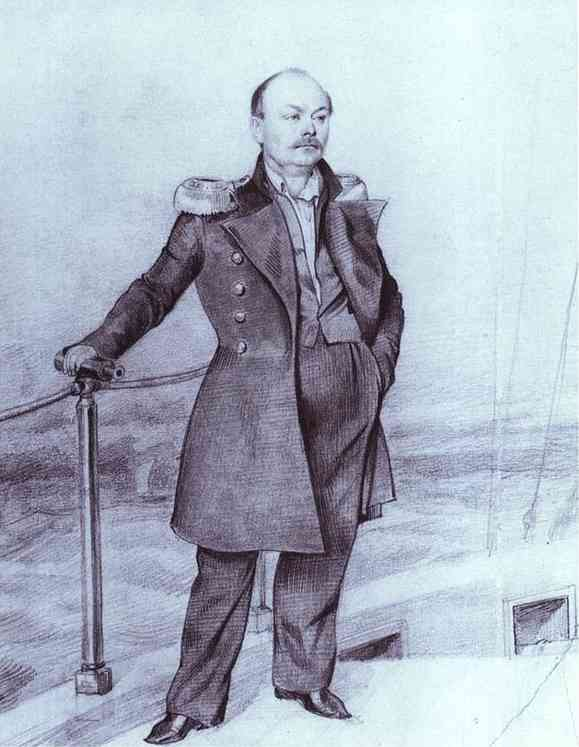 S. D. Shishmarev on Board the Ship, Pencil by Pavel Fedotov (1815-1852)