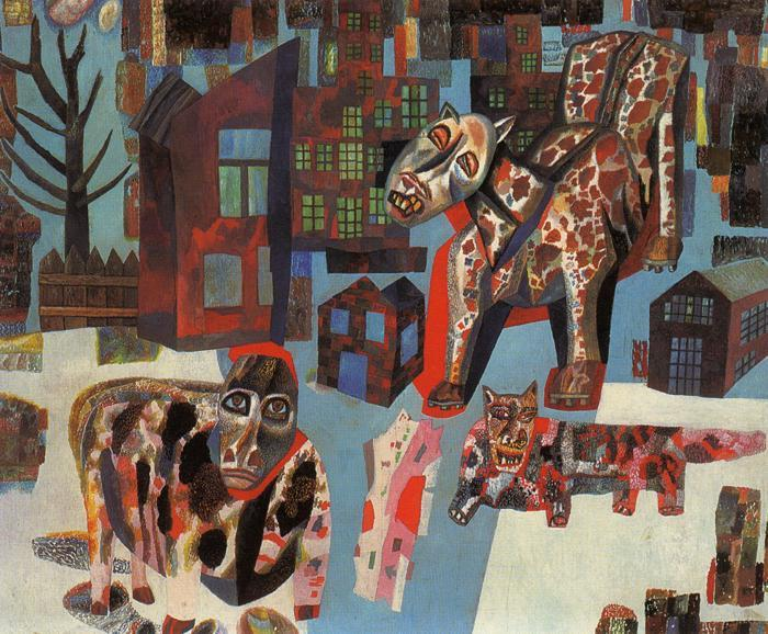 Animals, Oil by Pavel Filonov (1883-1941, Russia)