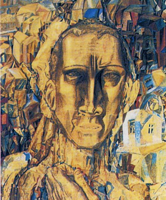 Defeater of the City, Oil by Pavel Filonov (1883-1941, Russia)