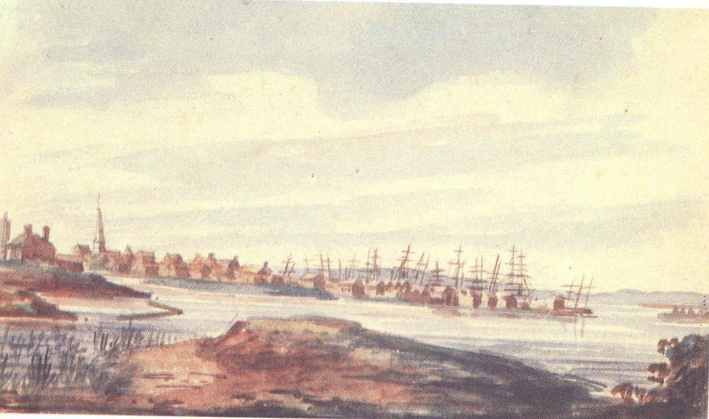 Town on the riverside, 1812 by Pavel Svinyin | ArtsDot.com