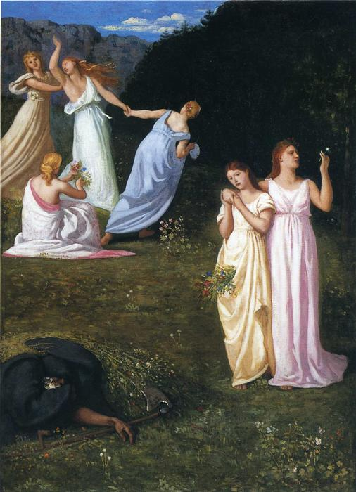 Death and the Maidens by Pierre Puvis De Chavannes (1824-1898, France)