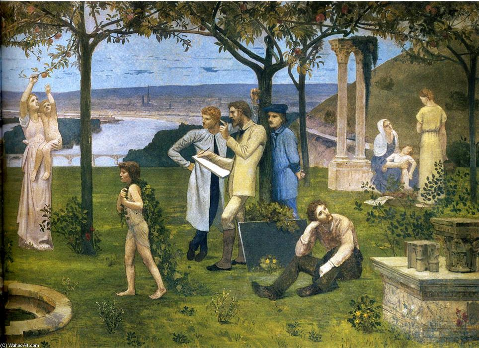 Between Art and Nature (detail), Oil On Canvas by Pierre Puvis De Chavannes (1824-1898, France)