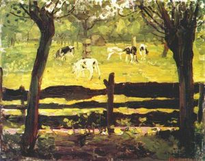 Piet Mondrian - Calves in a Field Bordered by Willow Trees