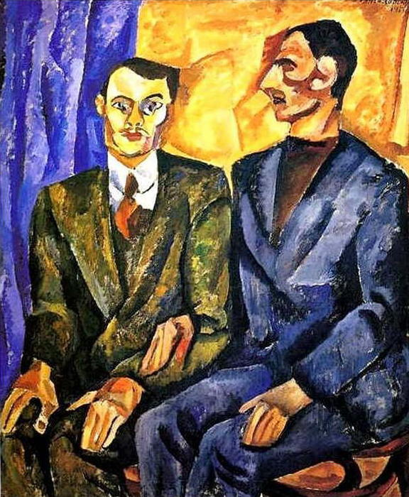 Portrait of P. Denike (Yuriev)and A. Pokrovsky, 1913 by Pyotr Konchalovsky (1876-1956, Russia) | ArtsDot.com